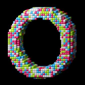 Alphabet pixelisé 3d. lettre o faite de cubes brillants isolés sur fond noir.
