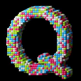 Alphabet pixelisé 3d. lettre q faite de cubes brillants isolés sur fond noir.