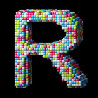 Alphabet pixelisé 3d. lettre r faite de cubes brillants isolés sur fond noir.