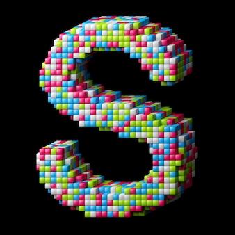 Alphabet pixelisé 3d. lettre s faite de cubes brillants isolés sur fond noir.