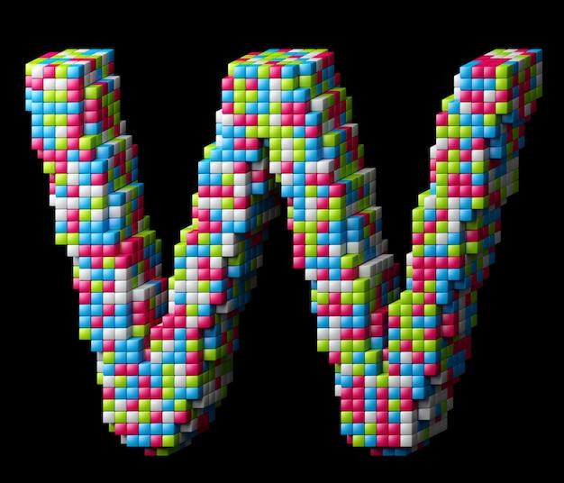 Alphabet pixelisé 3d. lettre w faite de cubes brillants isolés sur fond noir.