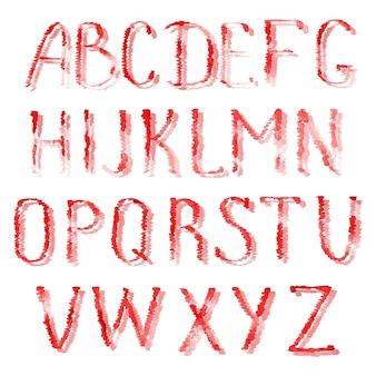 Alphabet Rouge. Alphabet Anglais Dessiné Main Aquarelle Isolé Sur Fond Blanc. Photo Premium