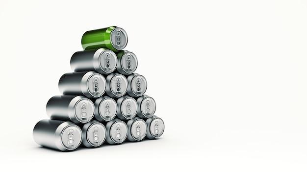 Aluminium peut rendu 3d isolé