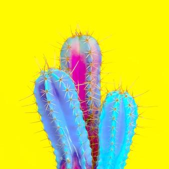 Amateurs de cactus. notion minimale. art de mode coloré de cactus