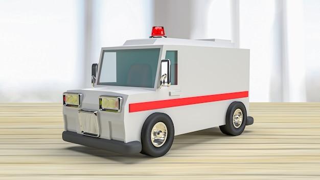 L'ambulance sur table en bois pour les soins de santé ou le concept médical de rendu 3d