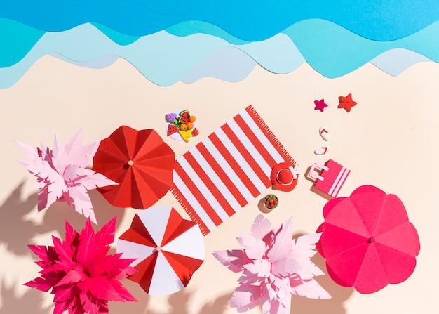 Aménagement de la plage d'été en différents matériaux