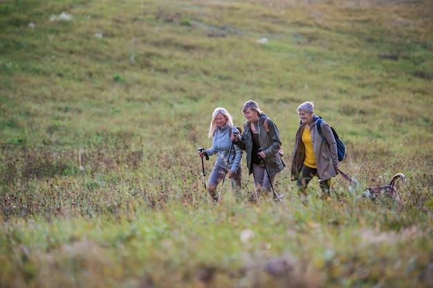 Amies seniors avec chien en promenade à l'extérieur dans la nature, marchant.