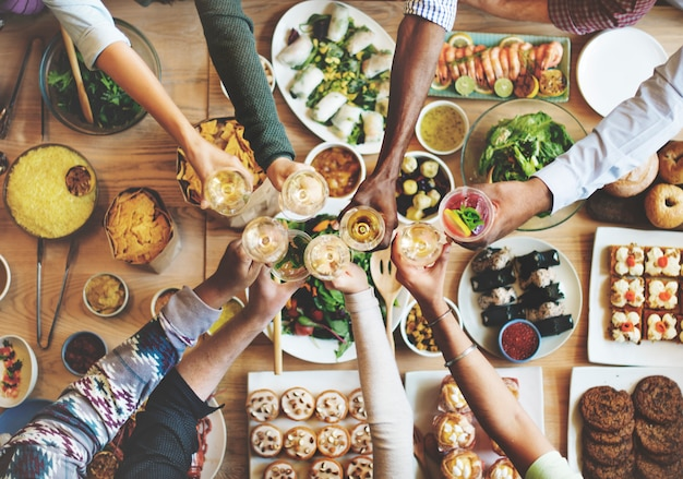 Amis, bonheur, manger, manger, concept