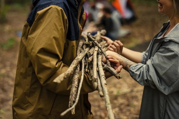 Amis campant et ramassant du bois de chauffage