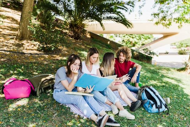 Amis, étudier et parler dans le parc
