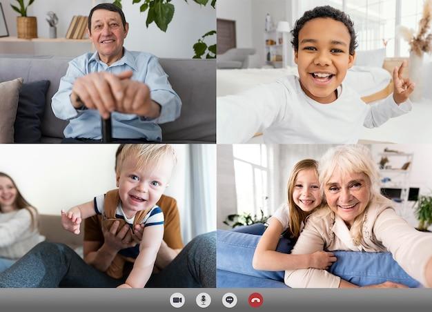 Amis ou famille faisant un appel vidéo pour rattraper leur retard