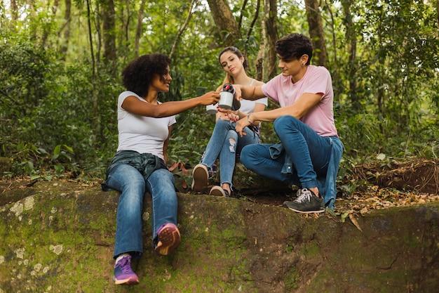 Amis multiraciaux buvant du thé dans la jungle