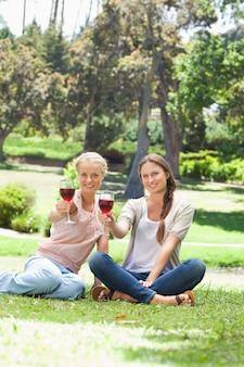 Amis souriants ayant des verres de vin rouge dans le parc