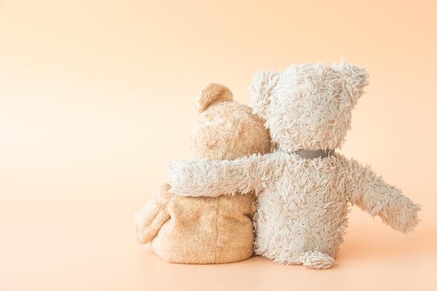 Amitié - un ours en peluche mignon avec des amis tient dans ses bras