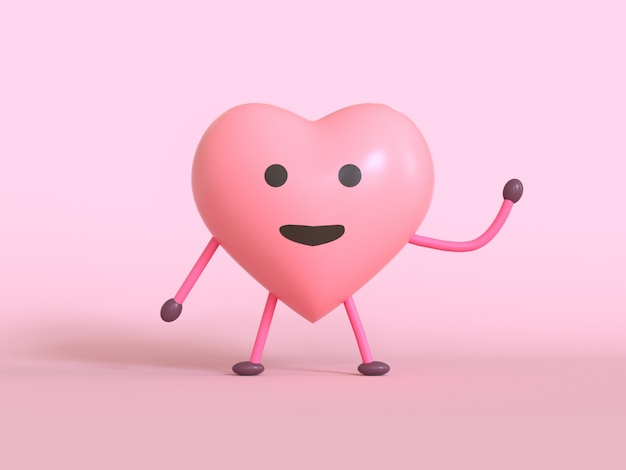 Amour émotion dessin animé personnage rose emoji rendu 3d