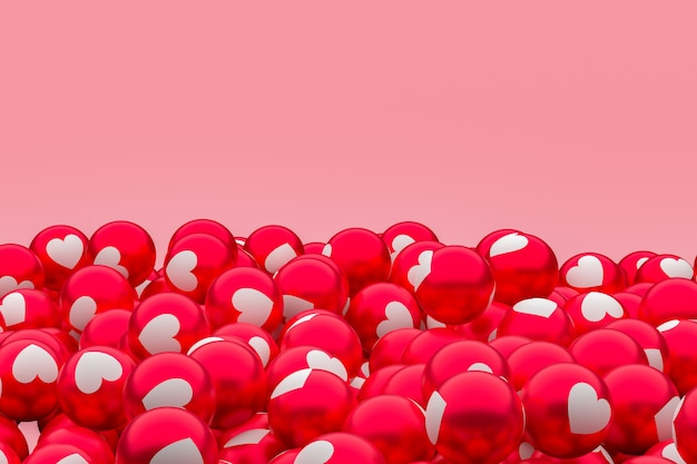 Amour facebook emoji fond de rendu 3d, symbole de ballon de médias sociaux
