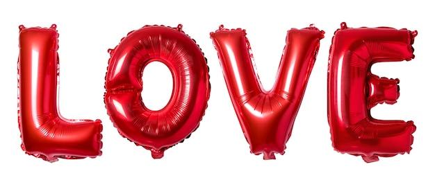 Amour de mot dans l'alphabet anglais de ballons rouges sur fond blanc