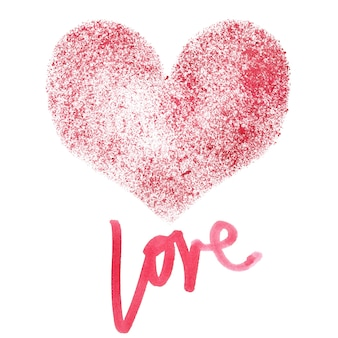 Amour - pochoir coeur rouge isolé sur fond blanc - illustration raster