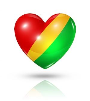 Amour république du congo icône de drapeau de coeur