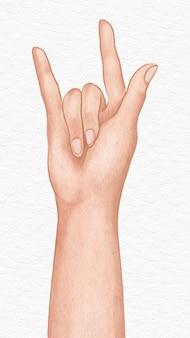 Amour signe de la main élément de conception esthétique illustration dessinée à la main