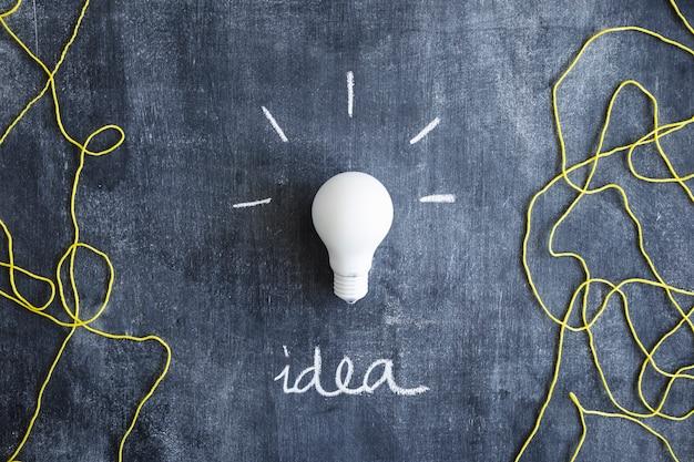 Ampoule blanche avec texte d'idée écrite et fil de laine sur tableau noir