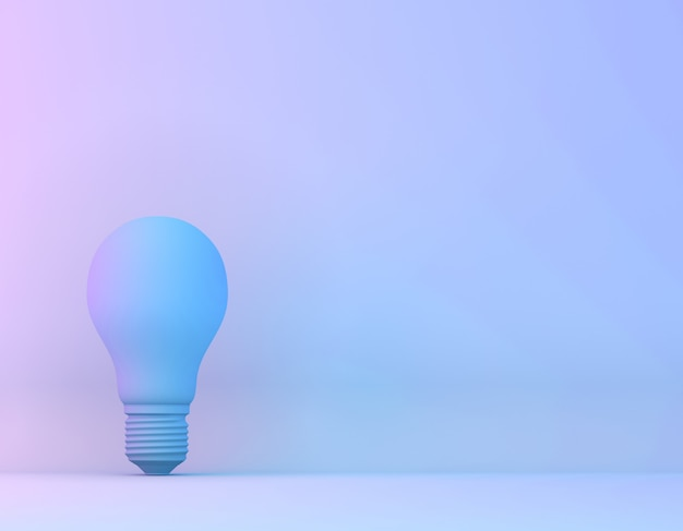 Ampoule bleue sur fond de couleurs holographiques pourpres et bleues dégradé. surréalisme art concept minimal.