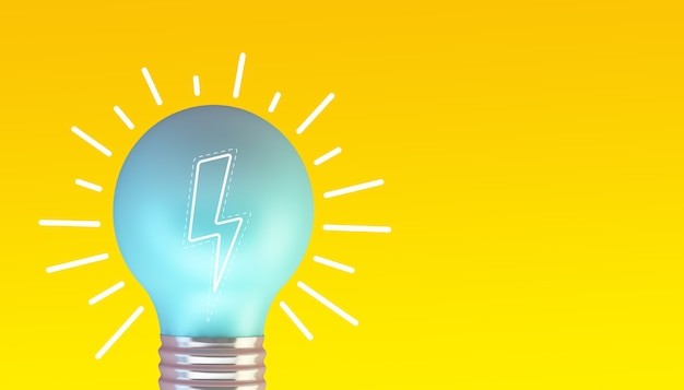 Ampoule bleue sur fond jaune rendu 3d avec une illustration de la foudre