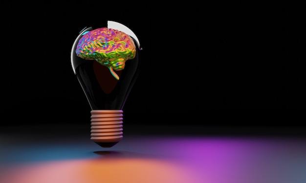 Ampoule avec cerveau à l'intérieur. idée créative et concept d'innovation, illustration 3d