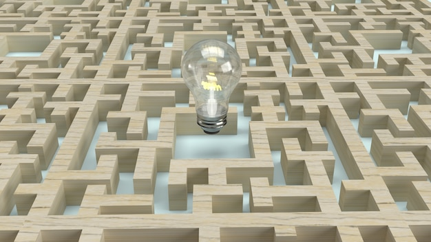 Ampoule dans le labyrinthe en bois