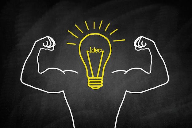 Ampoule dessiné en jaune avec des bras musclés