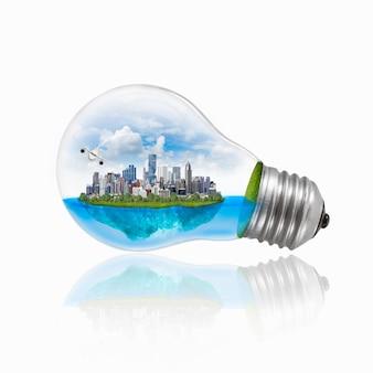 Ampoule avec énergie respectueuse de l'environnement.