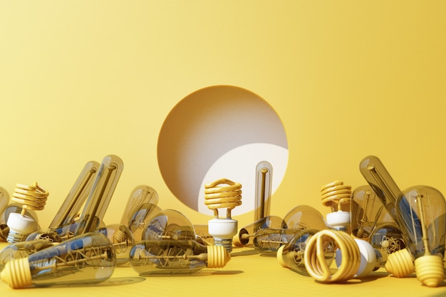 Ampoule fluorescente jaune led sur fond de mur jaune entouré de lampe à incandescence - rendu 3d