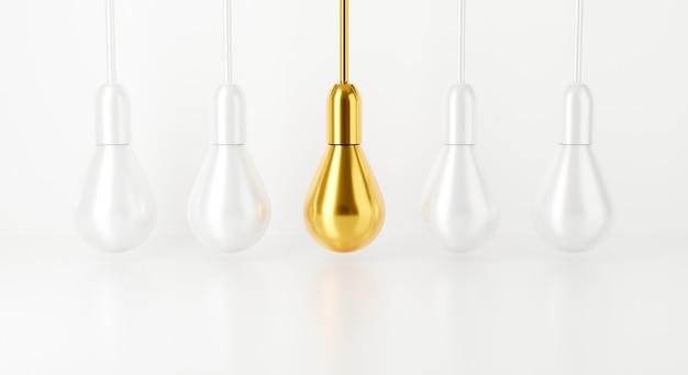 Ampoule sur fond blanc. rendu 3d pour lampe idée créative.