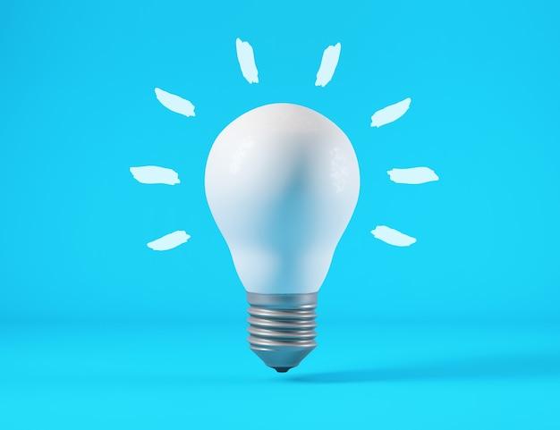 Ampoule isolée sur fond bleu, concept d'idée