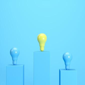 Ampoule jaune debout parmi les ampoules bleues