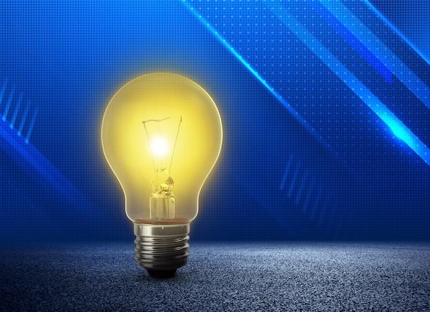 Ampoule jaune éclatante ampoule dorée exceptionnelle sur fond bleu