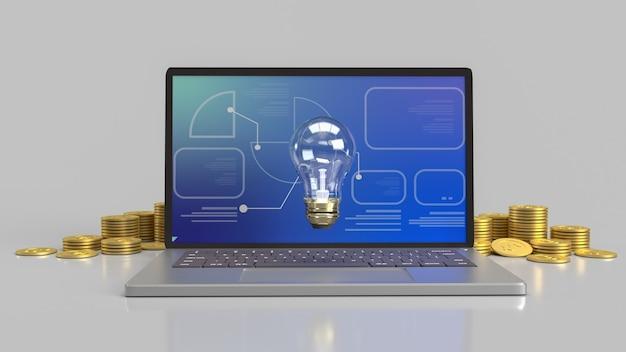 L'ampoule sur ordinateur portable et pièces d'or rendu 3d.
