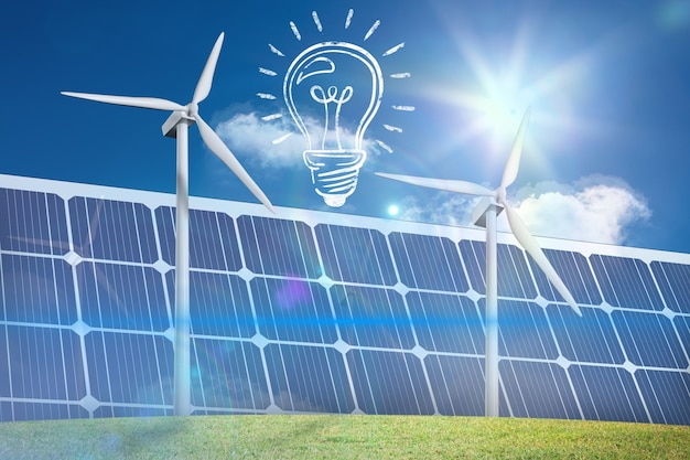 Ampoule avec des panneaux solaires