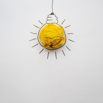 Ampoule en papier minimaliste avec espace de copie