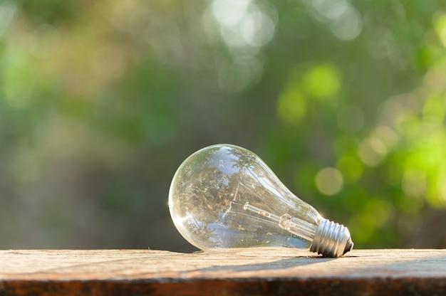 Une ampoule placée sur un plancher en bois
