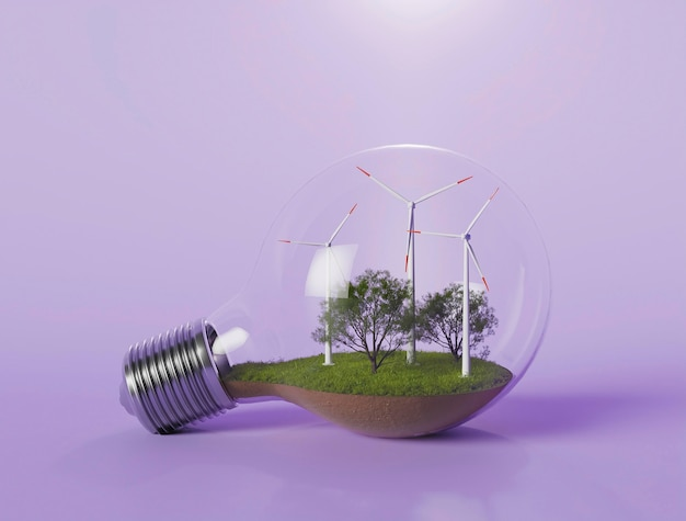Ampoule avec projet d'éolienne 3d pour économiser de l'énergie