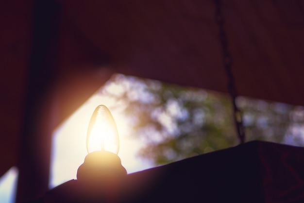 Ampoule sur une suspension en bois