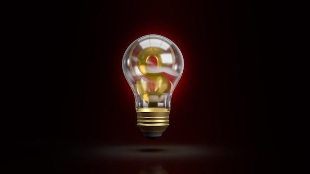 L'ampoule et le symbole de l'argent pour le rendu 3d de contenu commercial