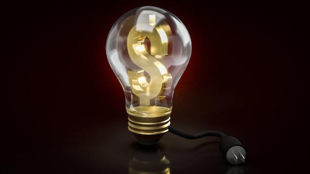 L'ampoule et le symbole de l'argent et la prise électrique pour la monnaie électronique ou le rendu 3d de contenu commercial