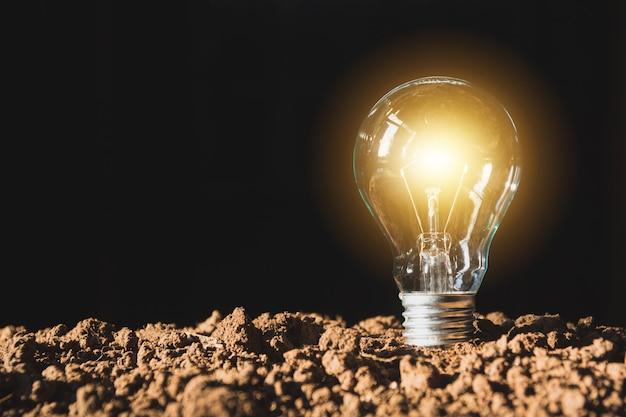 Ampoules avec un brillant. concept d'idée et de créativité avec des ampoules.