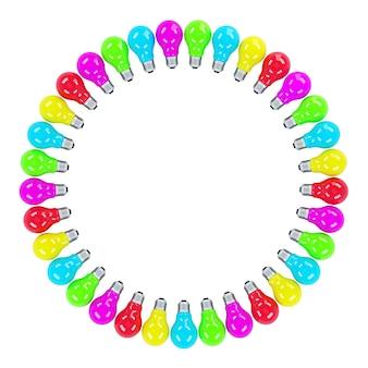 Ampoules colorées formant un cadre isolé