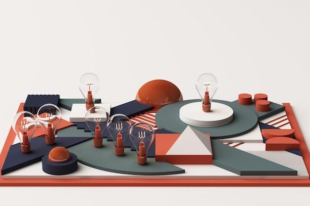 Ampoules concept composition abstraite de plates-formes de formes géométriques dans les tons bleu et orange. rendu 3d