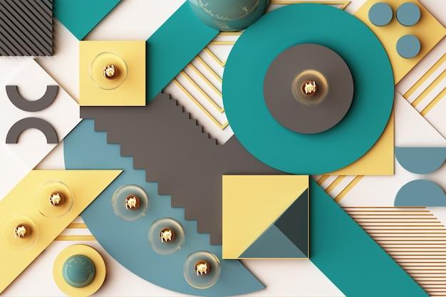 Ampoules concept composition abstraite de plates-formes de formes géométriques dans les tons vert et jaune. rendu 3d