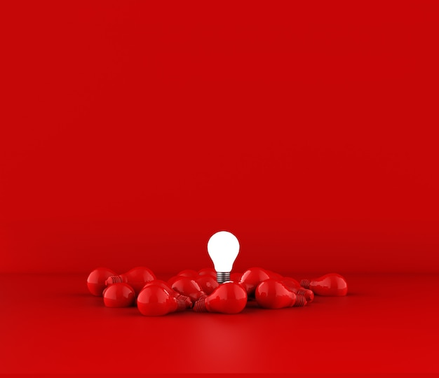 Ampoules sur fond rouge. idée concept. illustration 3d.