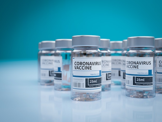 Ampoules avec vaccin covid-19 sur une paillasse de laboratoire